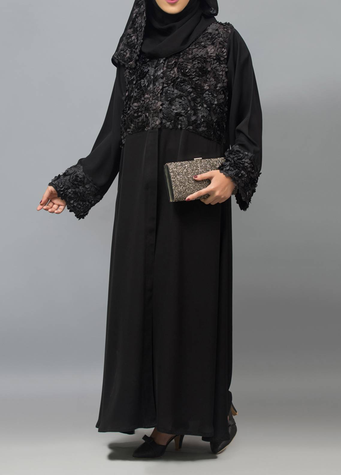 Hijab ul Hareem Front Open Style  Stitched Abaya 0121-R-958