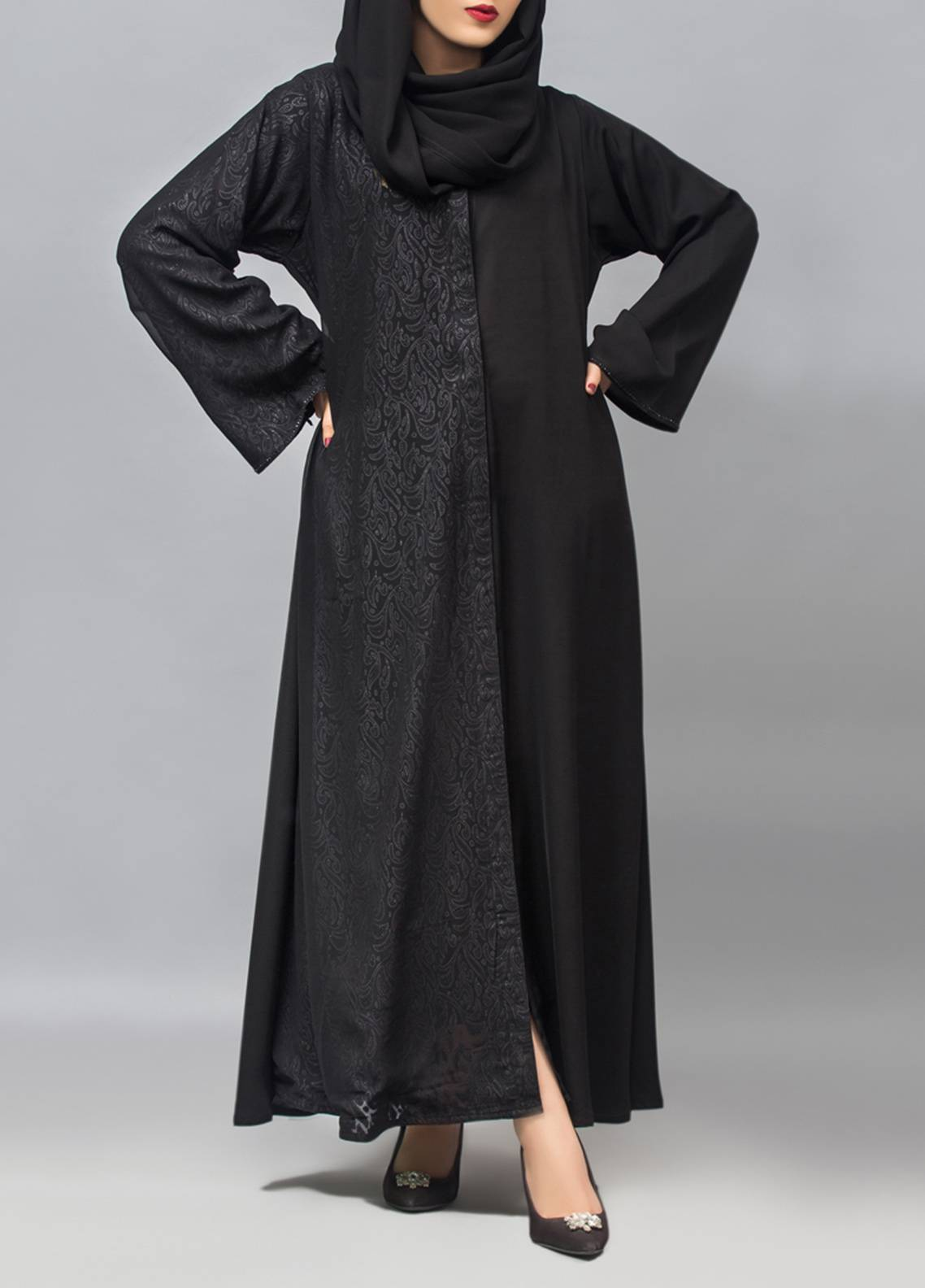 bc7a326c111c Hijab ul Hareem Front Open Style Stitched Abaya 0121-RC-959. Online only