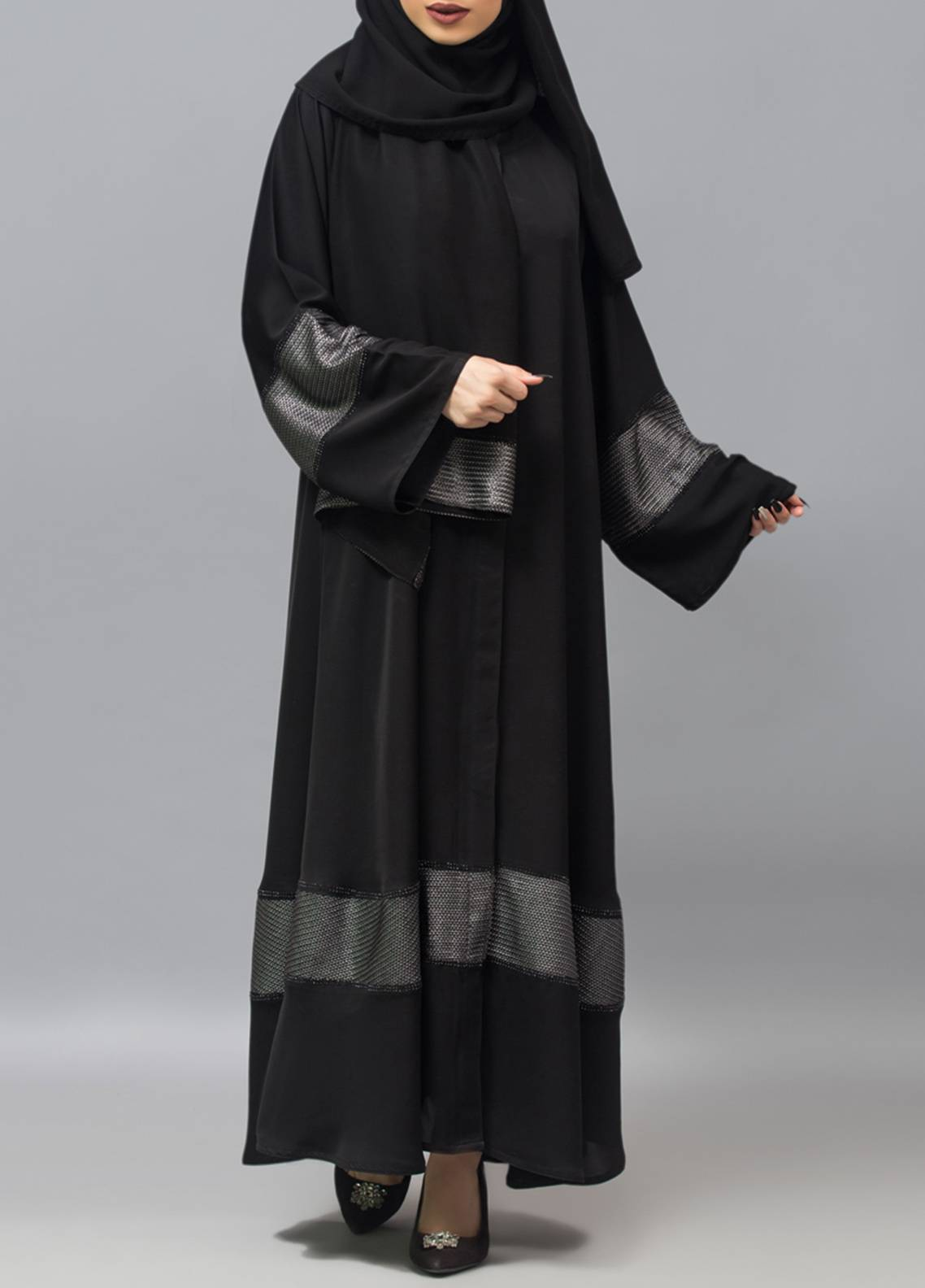 e1215509d429 Hijab ul Hareem Front Open Style Stitched Abaya 0121-RC-960. Online only