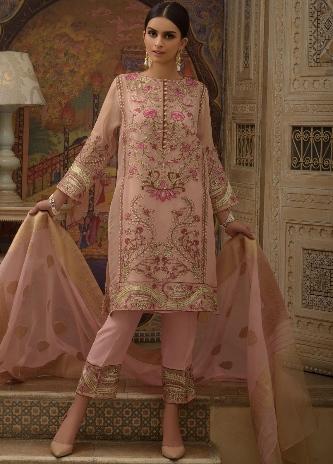 Honey Waqar by Regalia Textiles Embroidered Chiffon Unstitched 3 Piece Suit RGT20HW Anar Kali - Luxury Collection