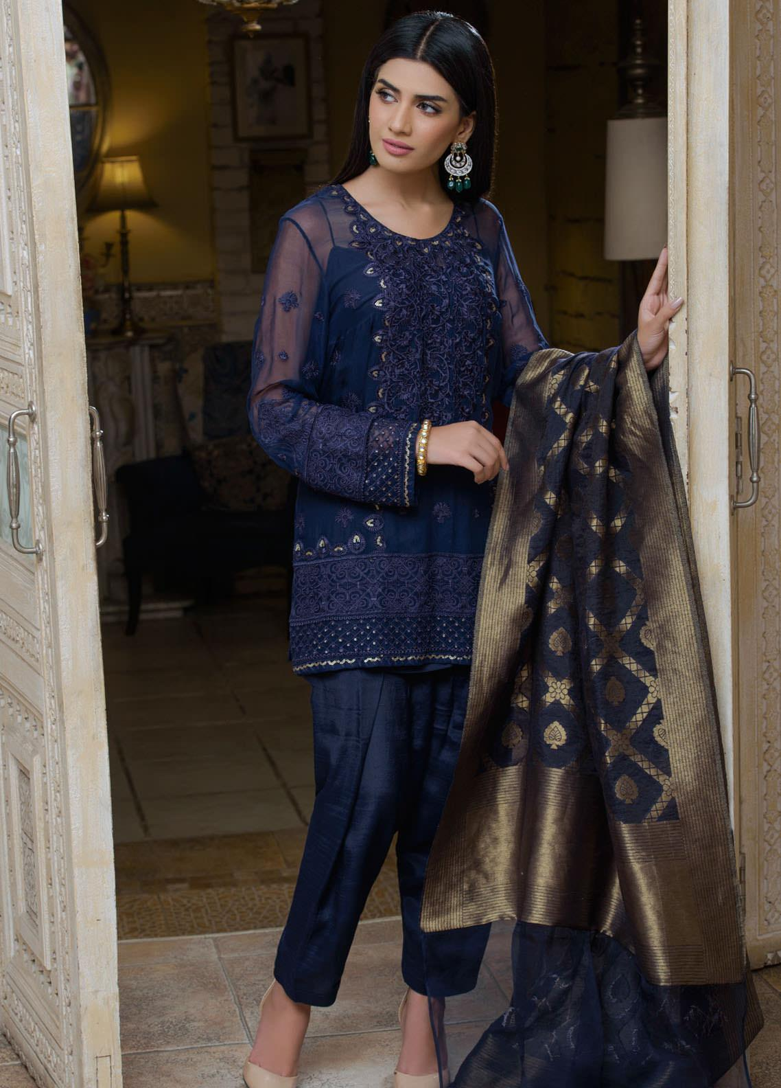 Honey Waqar by Regalia Textiles Embroidered Chiffon Unstitched 3 Piece Suit RGT20HW Nargis - Luxury Collection