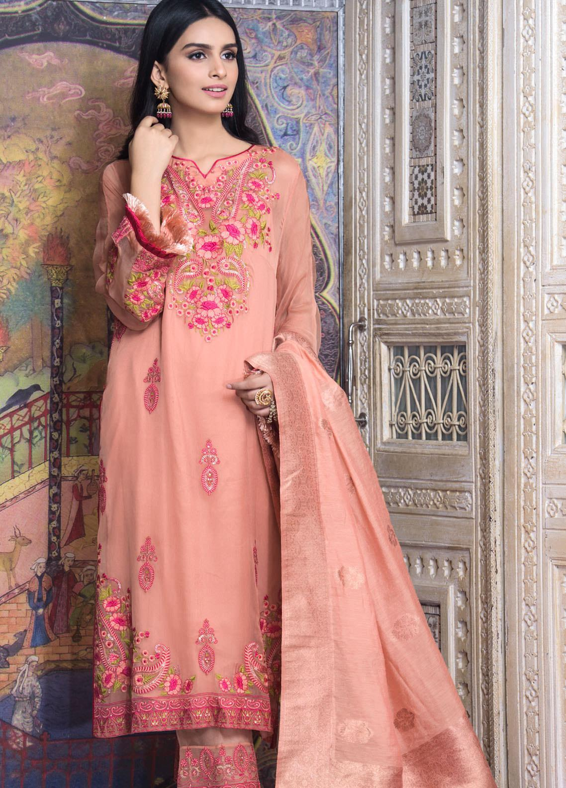 Honey Waqar by Regalia Textiles Embroidered Chiffon Unstitched 3 Piece Suit RGT20HW Noor Jahan - Luxury Collection