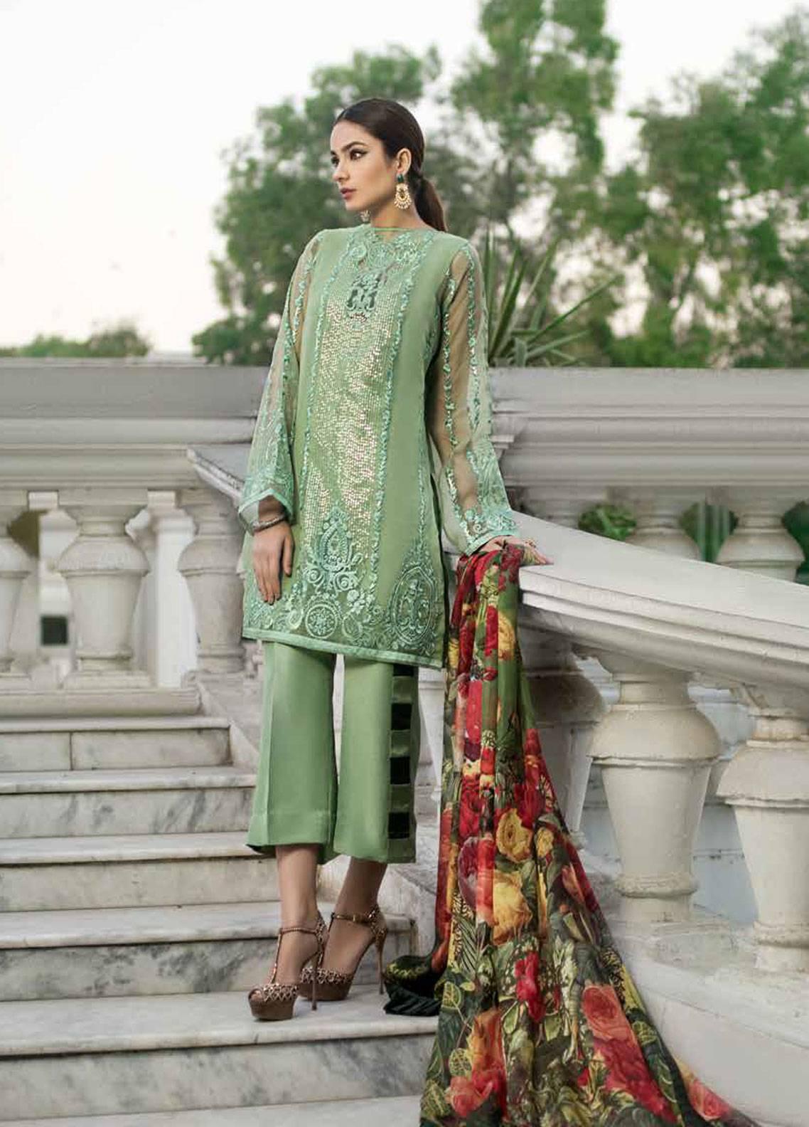 Honey Waqar By ZS Textile Embroidered Organza Unstitched 3 Piece Suit HWC19EC 07 Reine Des Fleur - Luxury Collection