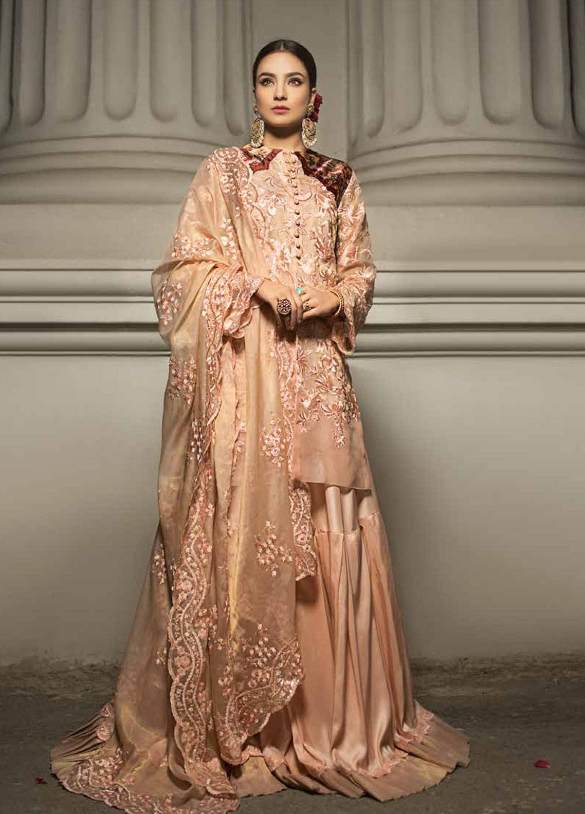 Honey Waqar By ZS Textile Embroidered MIssouri Unstitched 3 Piece Suit HWC19EC 10 Pote Du Paradis - Luxury Collection