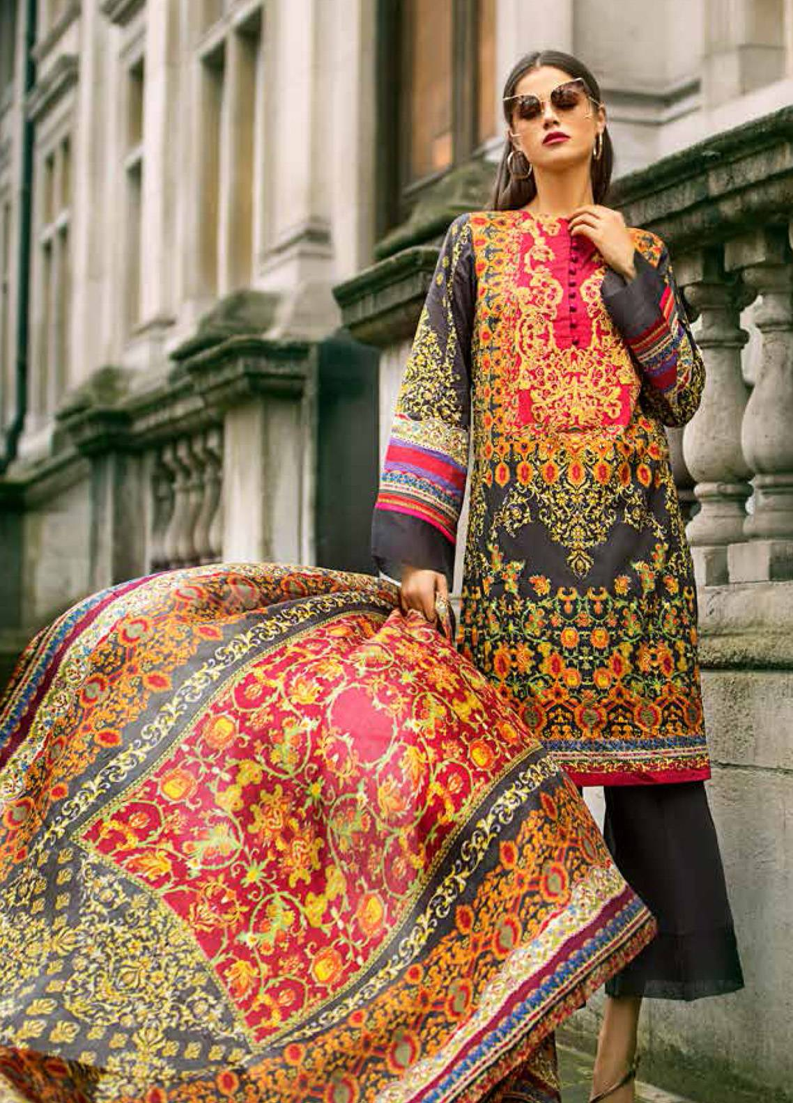 Honey Waqar Embroidered Lawn Unstitched 3 Piece Suit HW19F 10A LA BELLE RUSSE - Festive Collection
