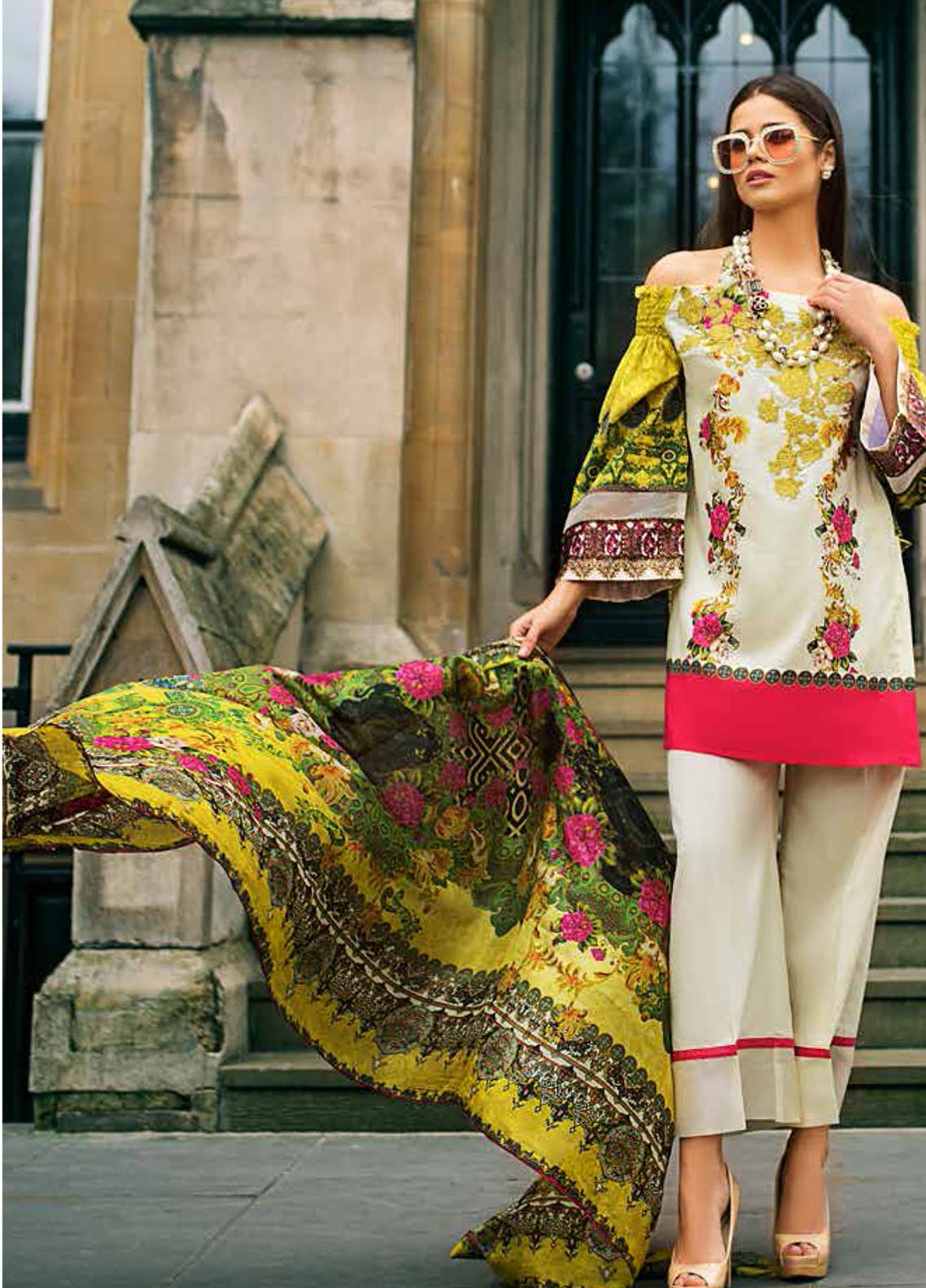 Honey Waqar Embroidered Lawn Unstitched 3 Piece Suit HW19F 11A EAST SWEETS - Festive Collection