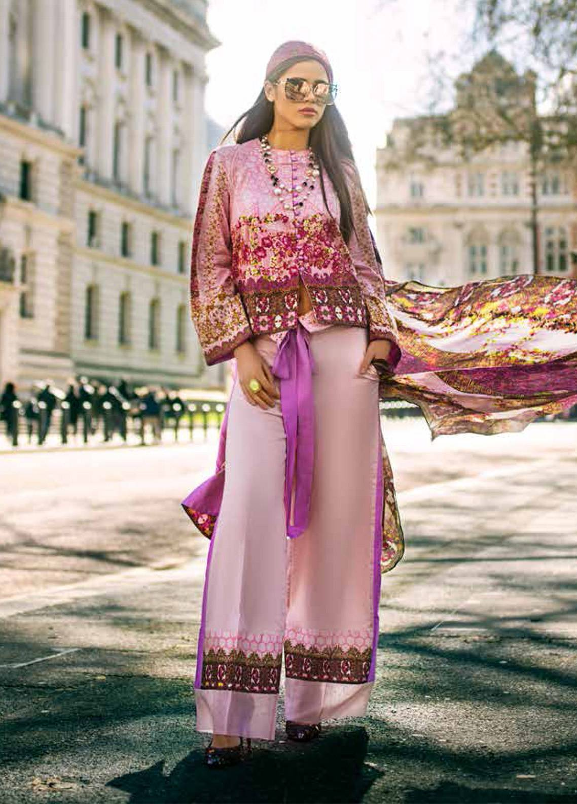 Honey Waqar Embroidered Lawn Unstitched 3 Piece Suit HW19F 12B NORTHERN DVINA - Festive Collection
