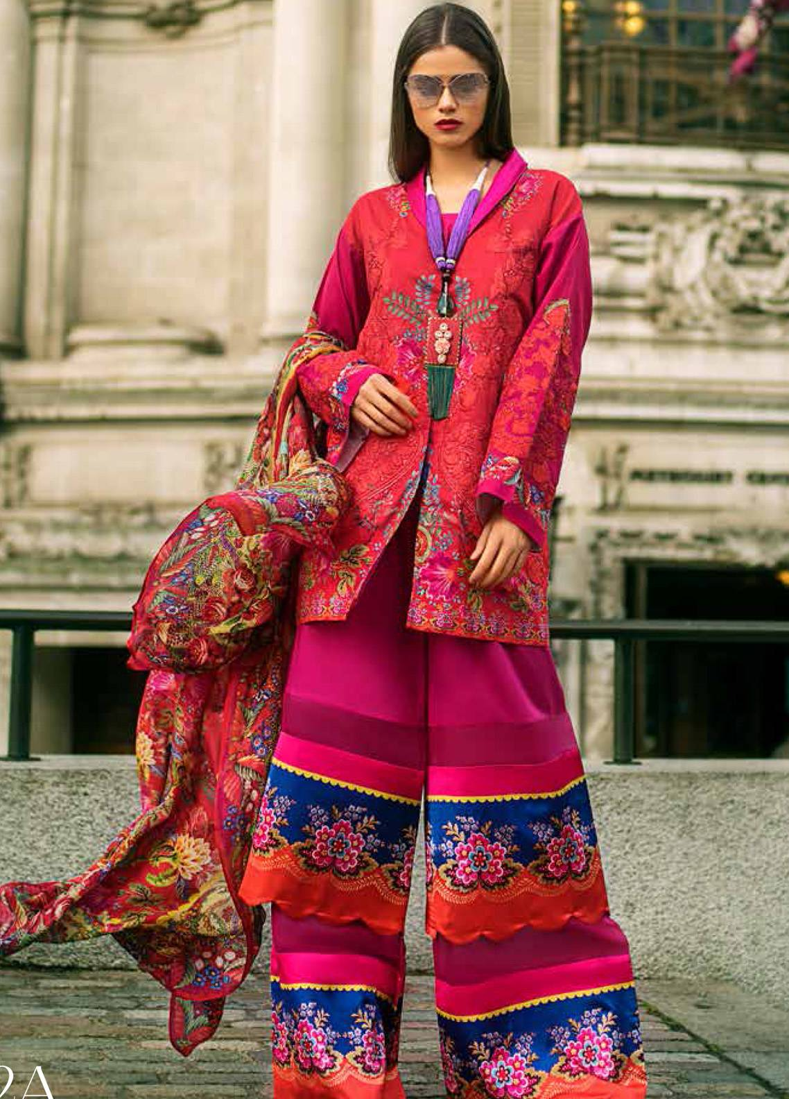 Honey Waqar Embroidered Lawn Unstitched 3 Piece Suit HW19F 2A GARDEN OF DELIGHT - Festive Collection