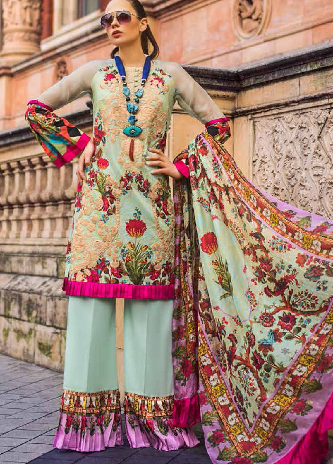 Honey Waqar Embroidered Lawn Unstitched 3 Piece Suit HW19F 5B BOTANICAL ORCHESTRA - Festive Collection