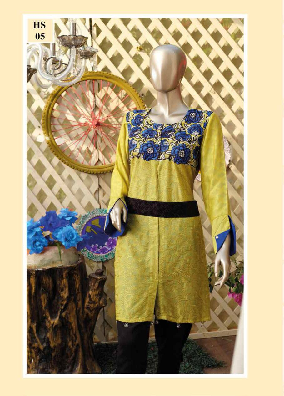 HS Tex Embroidered Cotton Net Unstitched 1 Piece Kurtis HS17C 02