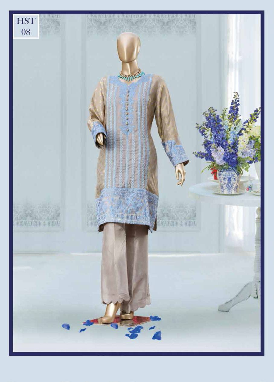 HS Tex Embroidered Cotton Net Unstitched 1 Piece Kurtis HS17C 10