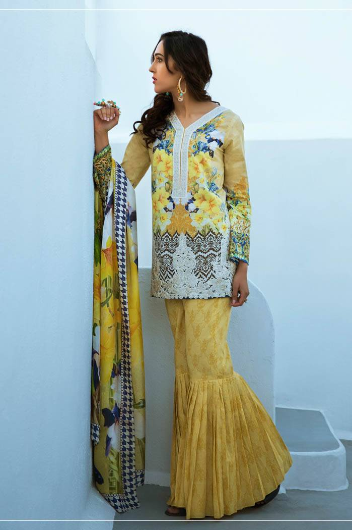 Honey Waqar By ZS Textile Embroidered Lawn Unstitched 3 Piece Suit HW17L 6B