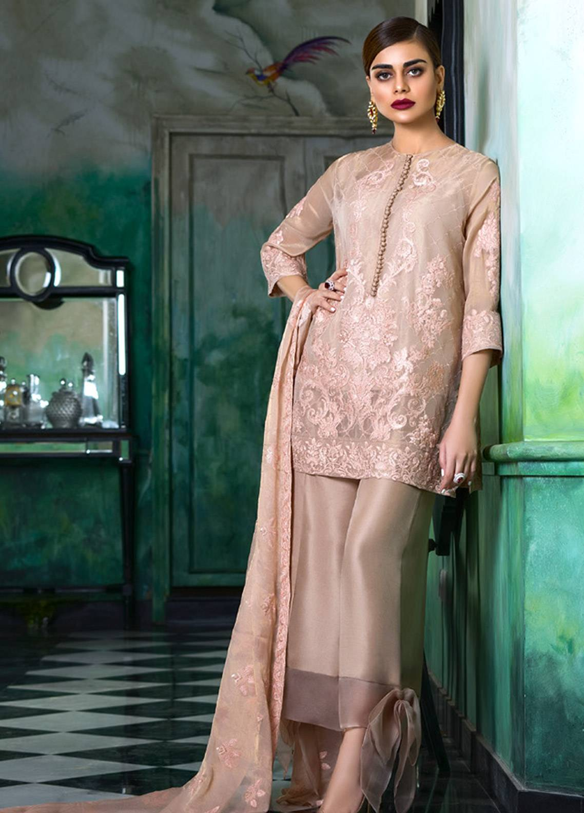 f005121fac Honey Waqar Embroidered Chiffon Unstitched 3 Piece Suit HW18C 07 - Eid  Collection