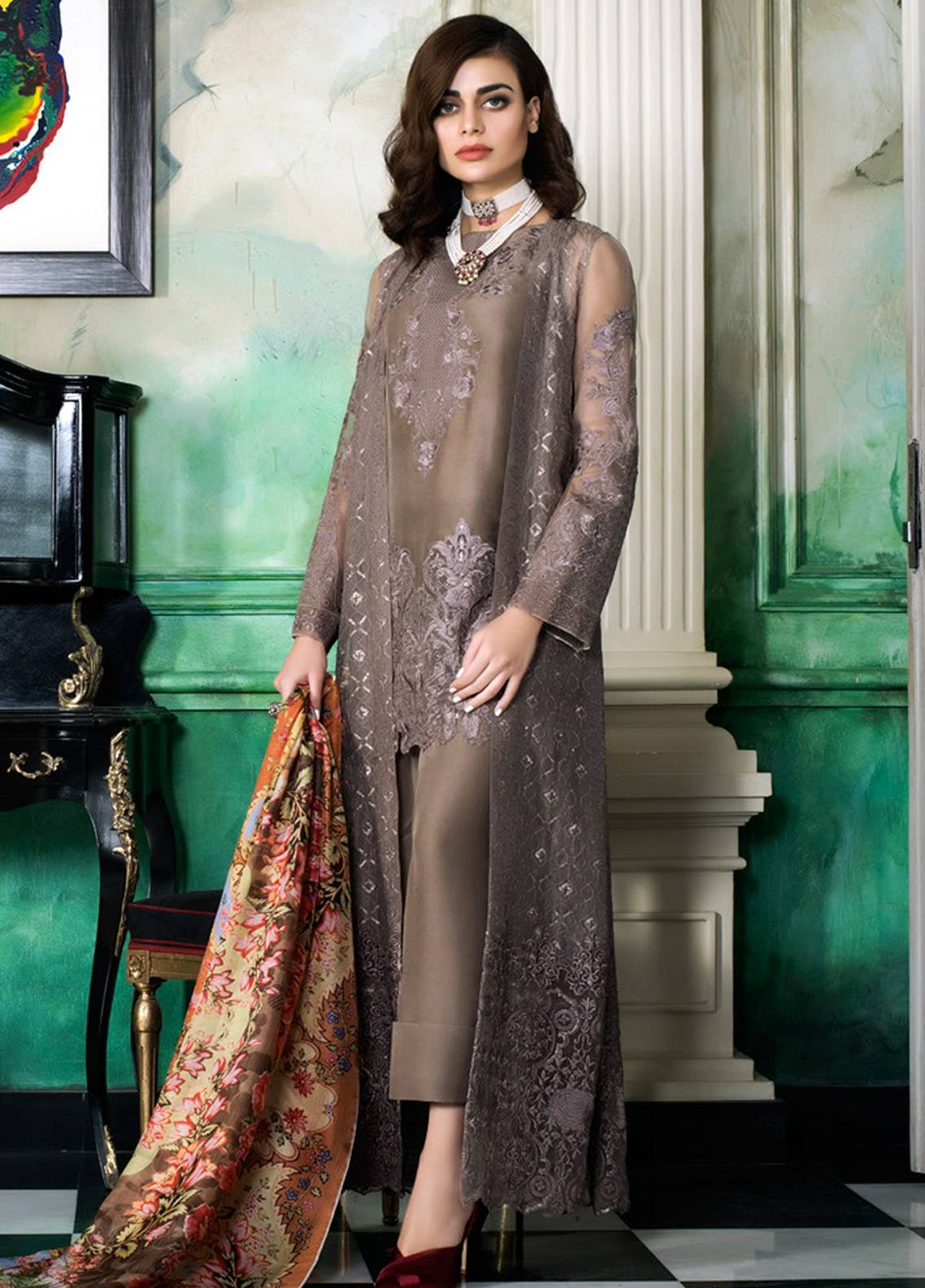 0cc3070cb2 Honey Waqar Embroidered Chiffon Unstitched 3 Piece Suit HW18C 10 - Eid  Collection