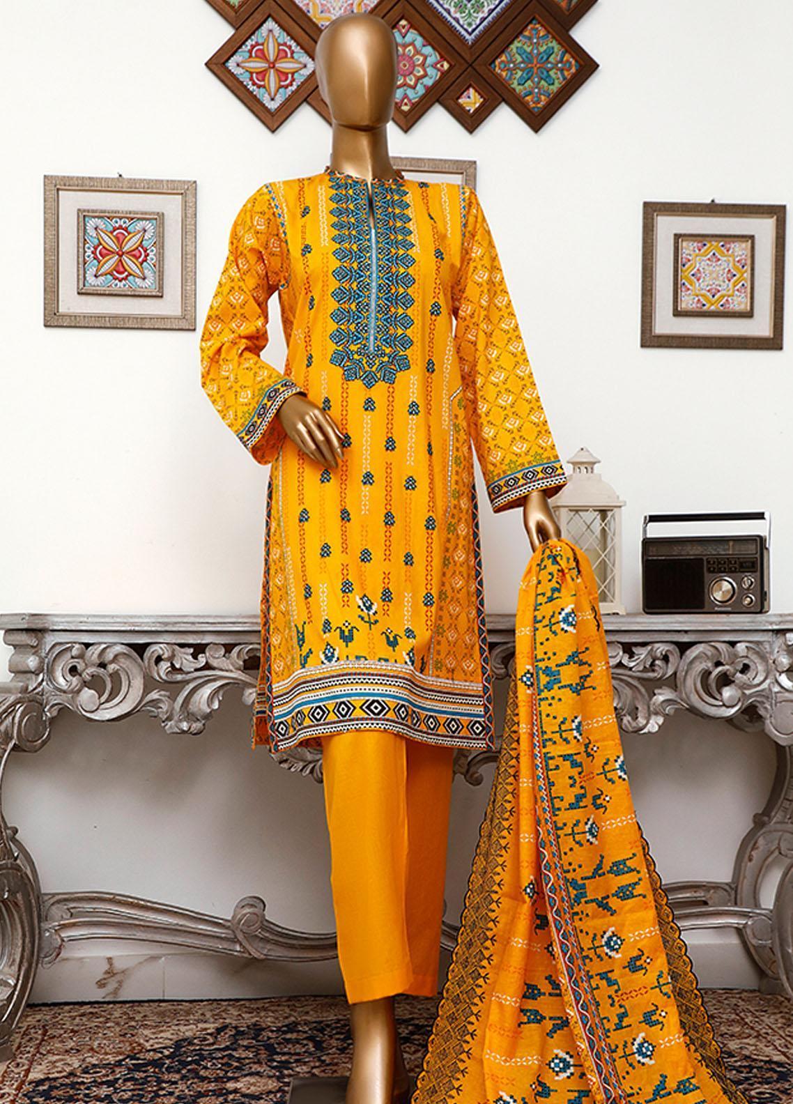 HZ Textiles Embroidered Cambric Unstitched 3 Piece Suit HZ20DC 03 Meri Gold - Winter Collection