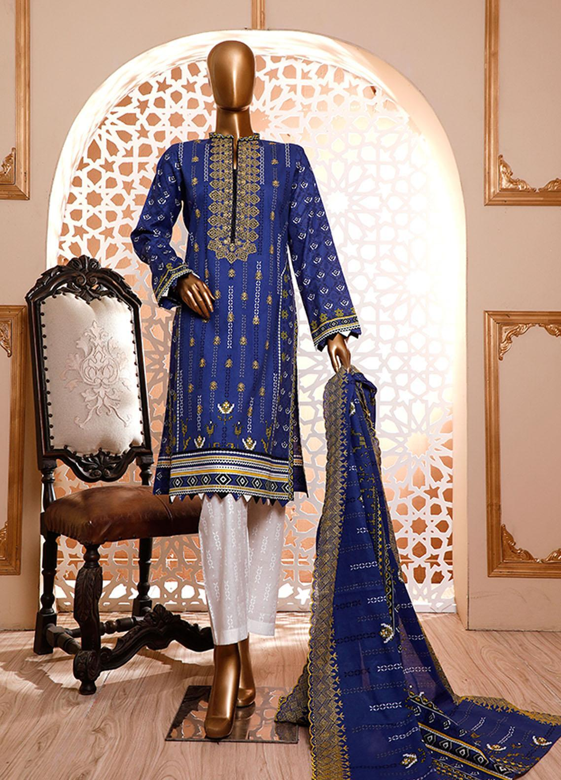HZ Textiles Embroidered Cambric Unstitched 3 Piece Suit HZ20DC 03 Royal Blue - Winter Collection