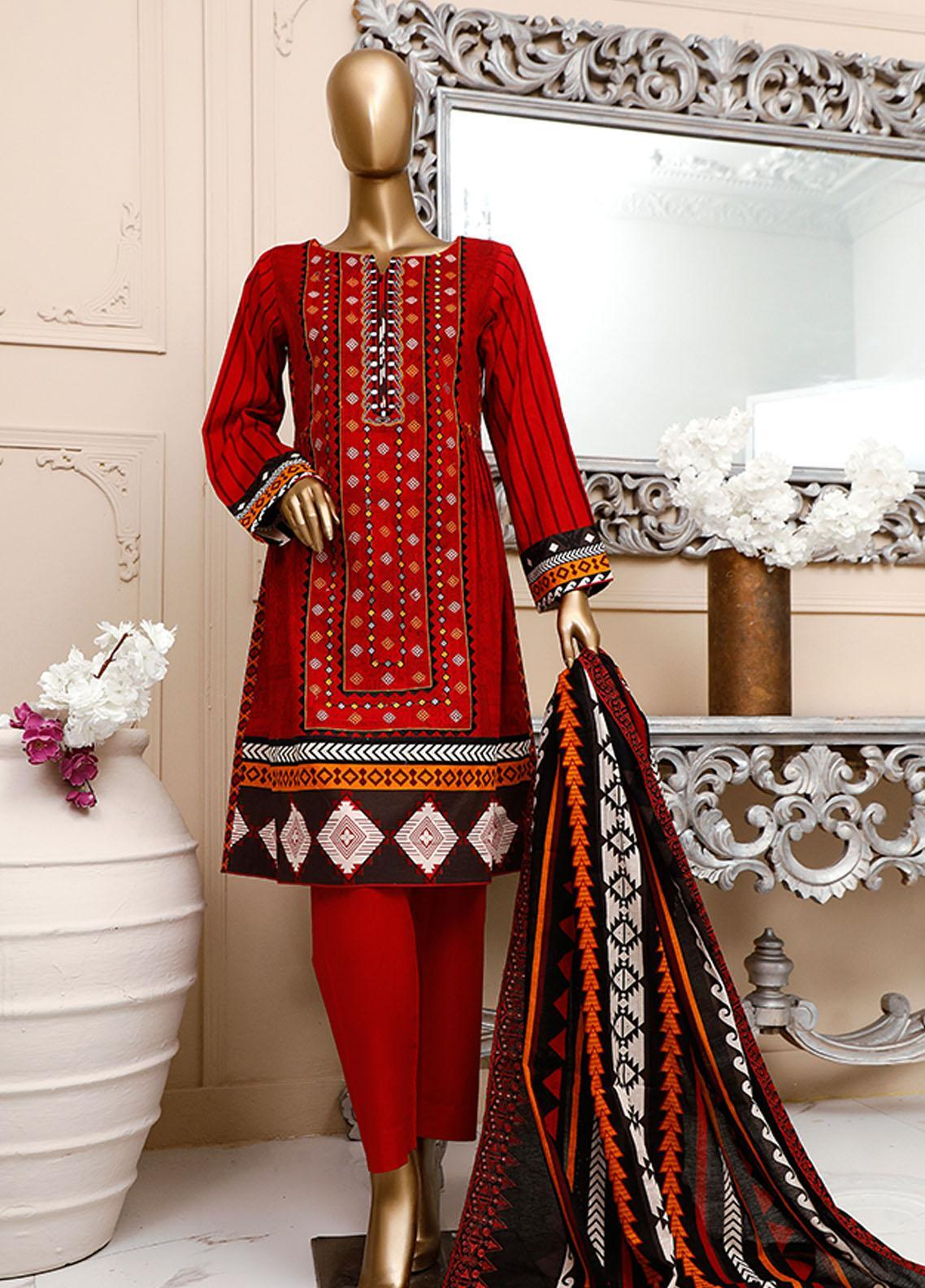 HZ Textiles Embroidered Cambric Unstitched 3 Piece Suit HZ20DC 04 Red - Winter Collection