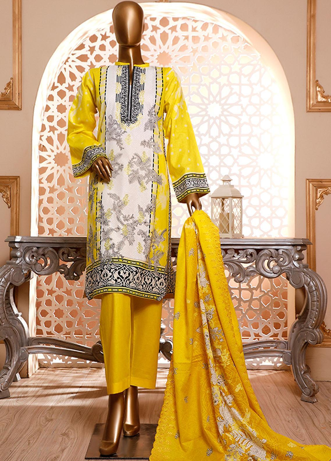 HZ Textiles Embroidered Cambric Unstitched 3 Piece Suit HZ20DC 05 Lemon Yellow - Winter Collection