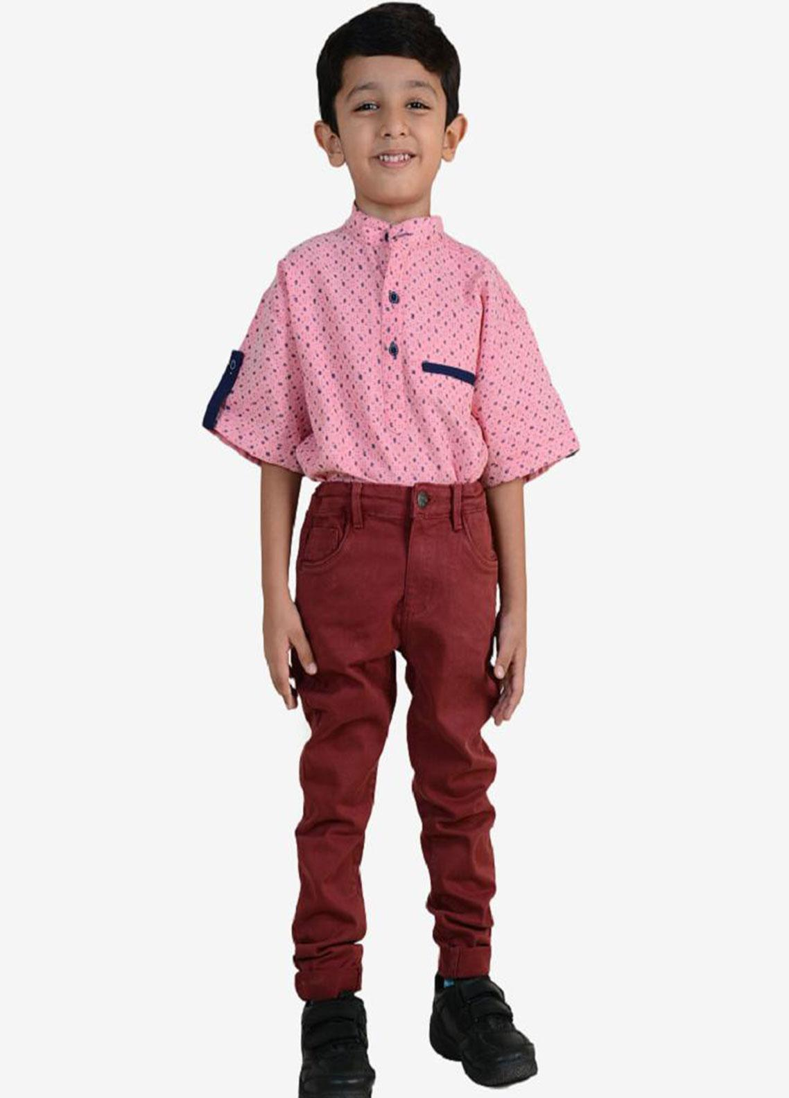 Ignite Wardrobe Cotton Casual Pants for Boys -  IG20PNK 013