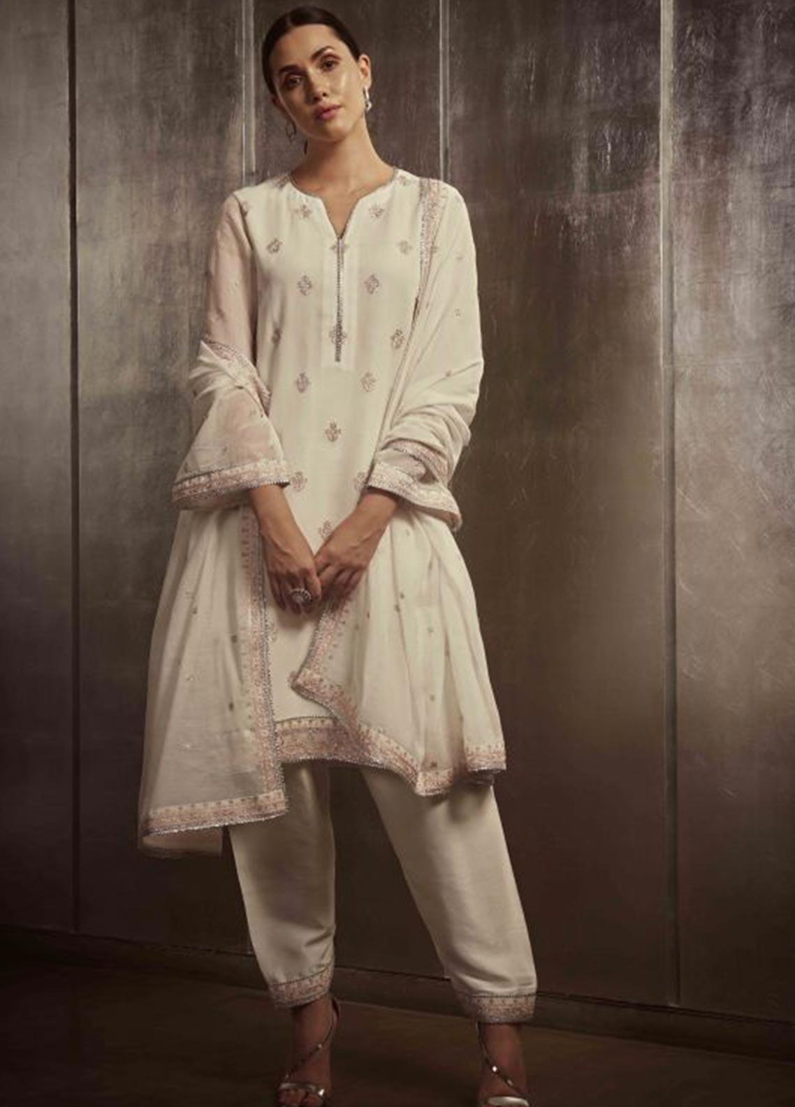 Image Embroidered Cotton Stitched 3 Piece Suit P 854 WHITE ALYSSUM