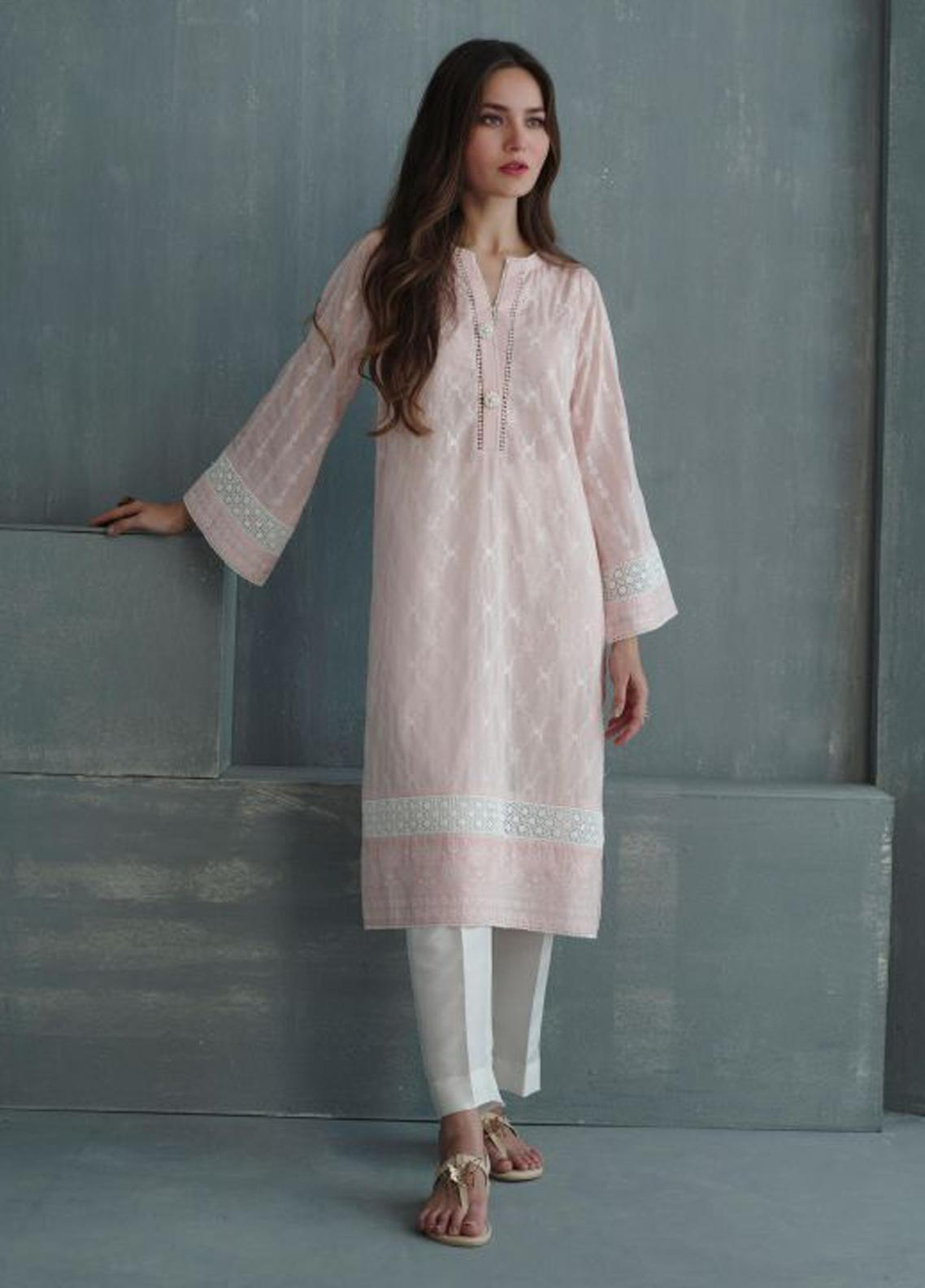 Image Embroidered Cotton Stitched Kurtis IMG19EP Blush Blossom P-813 Pink