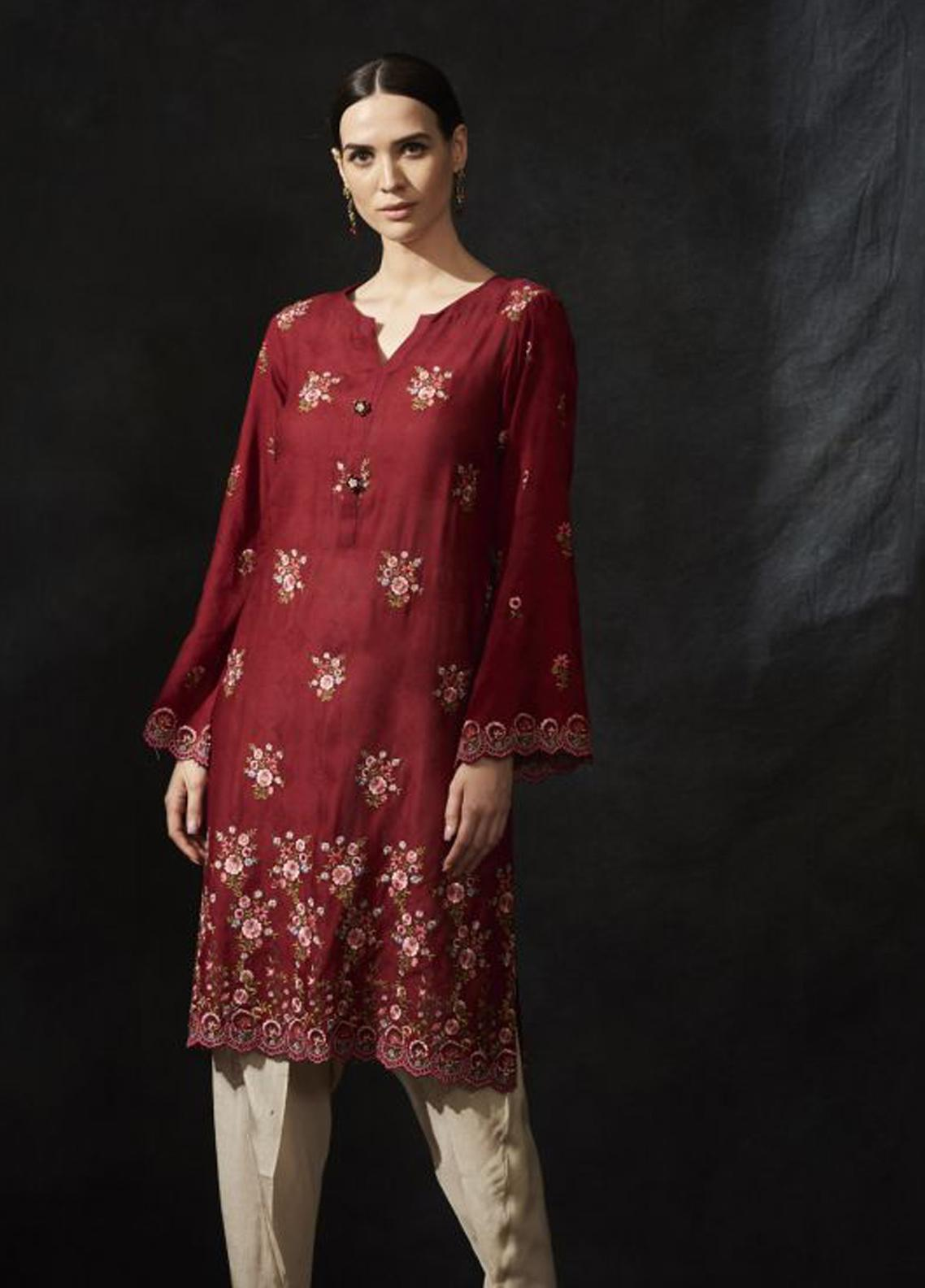 Image Embroidered Jacquard Stitched Kurtis IMG19EP P-774 Red