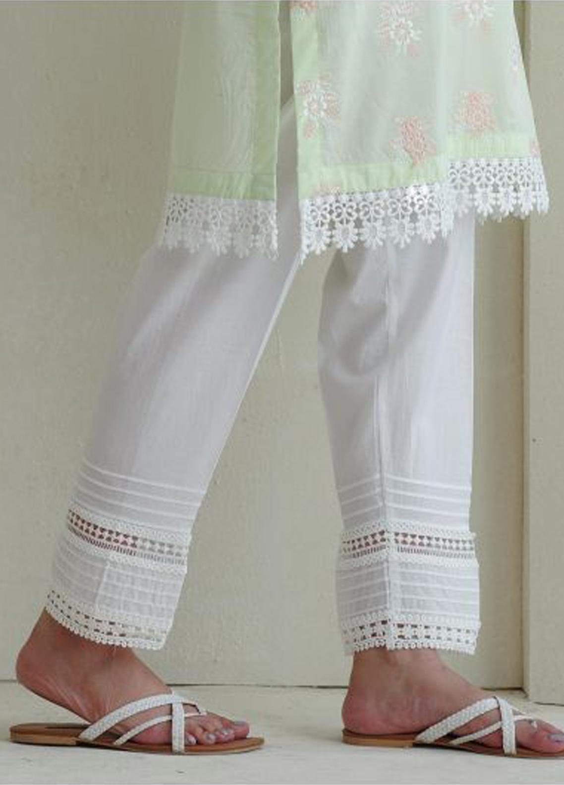Image Cotton Stitched Pants Embellished with Laces IMG19B T-215 Amber Light