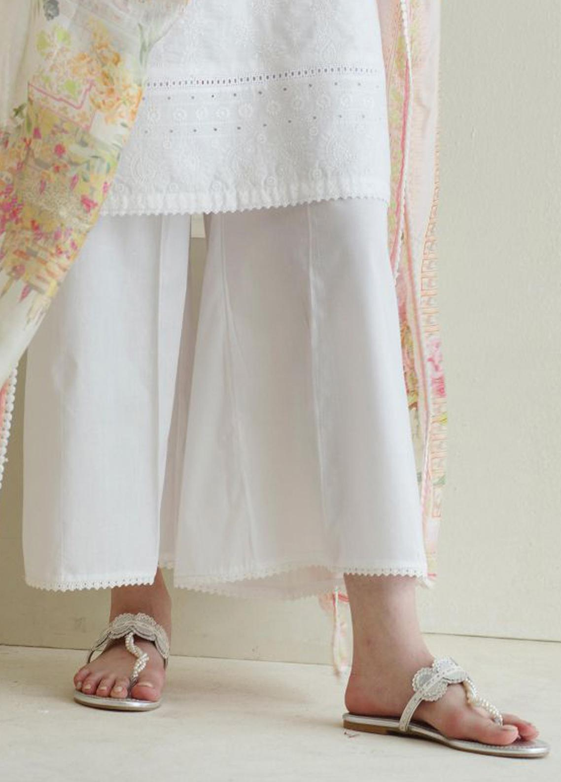 Image Cotton Stitched Shalwar Embellished with Laces IMG19B T-248 Snow