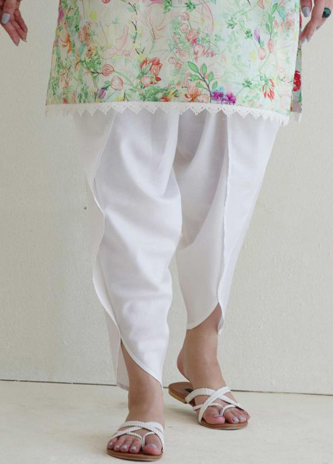 Image Cotton Stitched Shalwar Embellished with Laces IMG19B T-251 Hibiscus