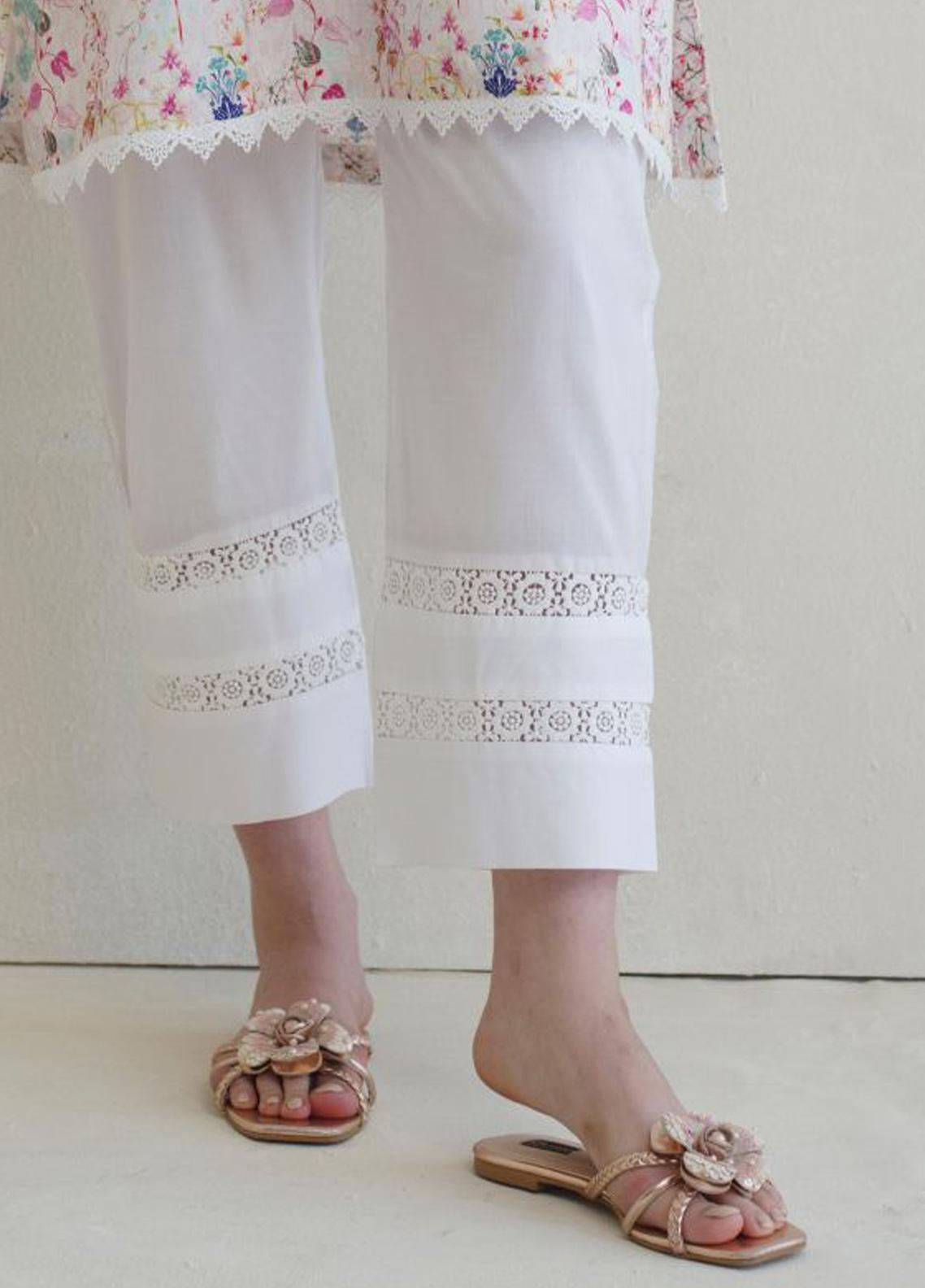 Image Cotton Stitched Shalwar Embellished with Laces IMG19B T-255 Lotus Lily