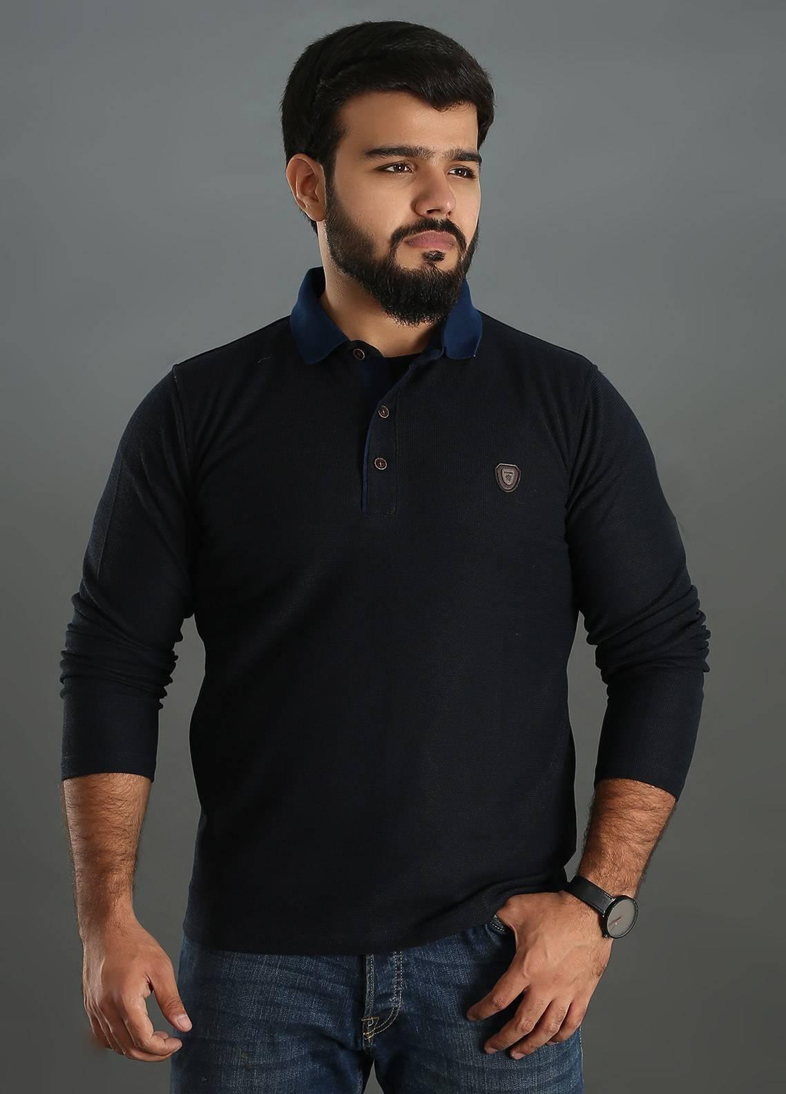Sanaulla Exclusive Range Jersey Polo Men Full Sleeves - Blue SAM18TS 02