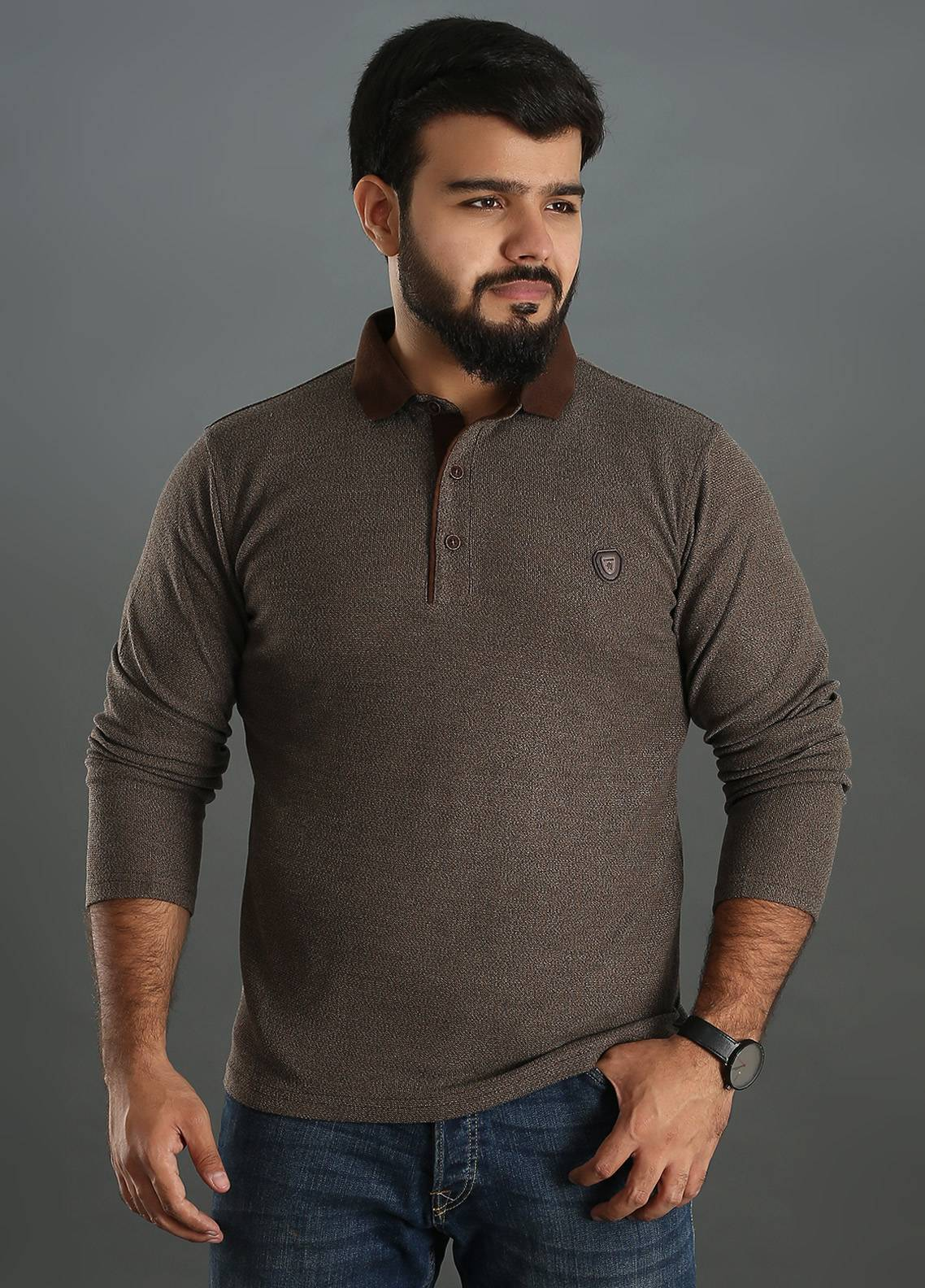 Sanaulla Exclusive Range Jersey Polo Full Sleeves for Men - Brown SAM18TS 03