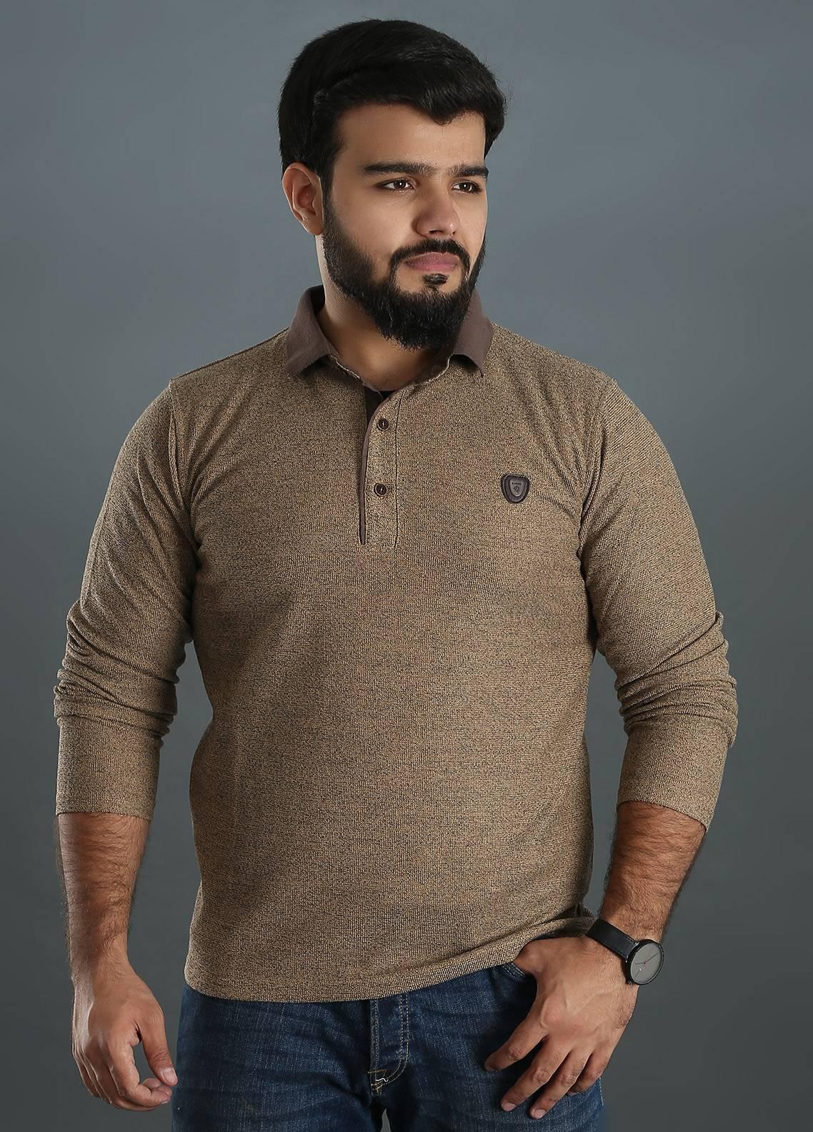 Sanaulla Exclusive Range Jersey Polo Men Full Sleeves - Brown SAM18TS 04