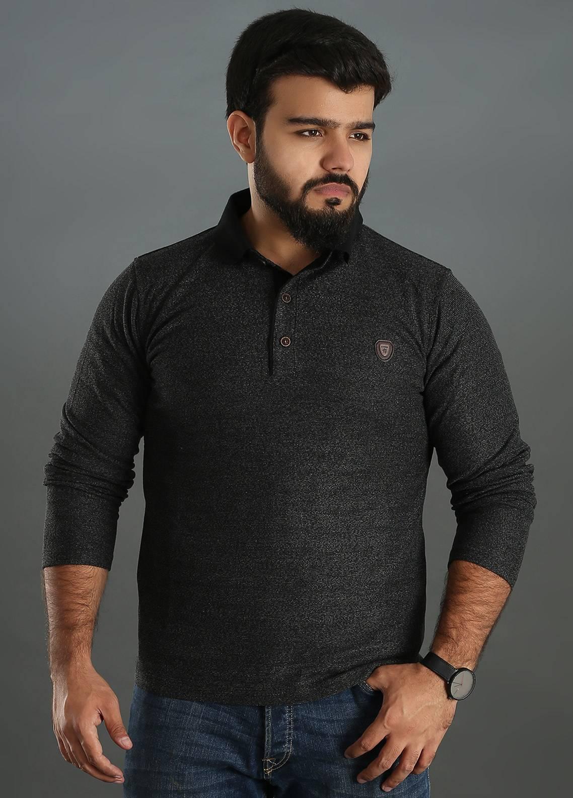 Sanaulla Exclusive Range Jersey Polo Men Full Sleeves - Grey SAM18TS 06