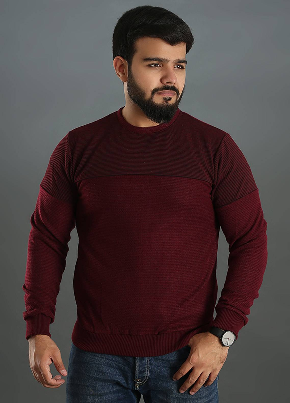 Sanaulla Exclusive Range Jersey Round Neck T-Shirts for Men - Maroon SAM18TS 07