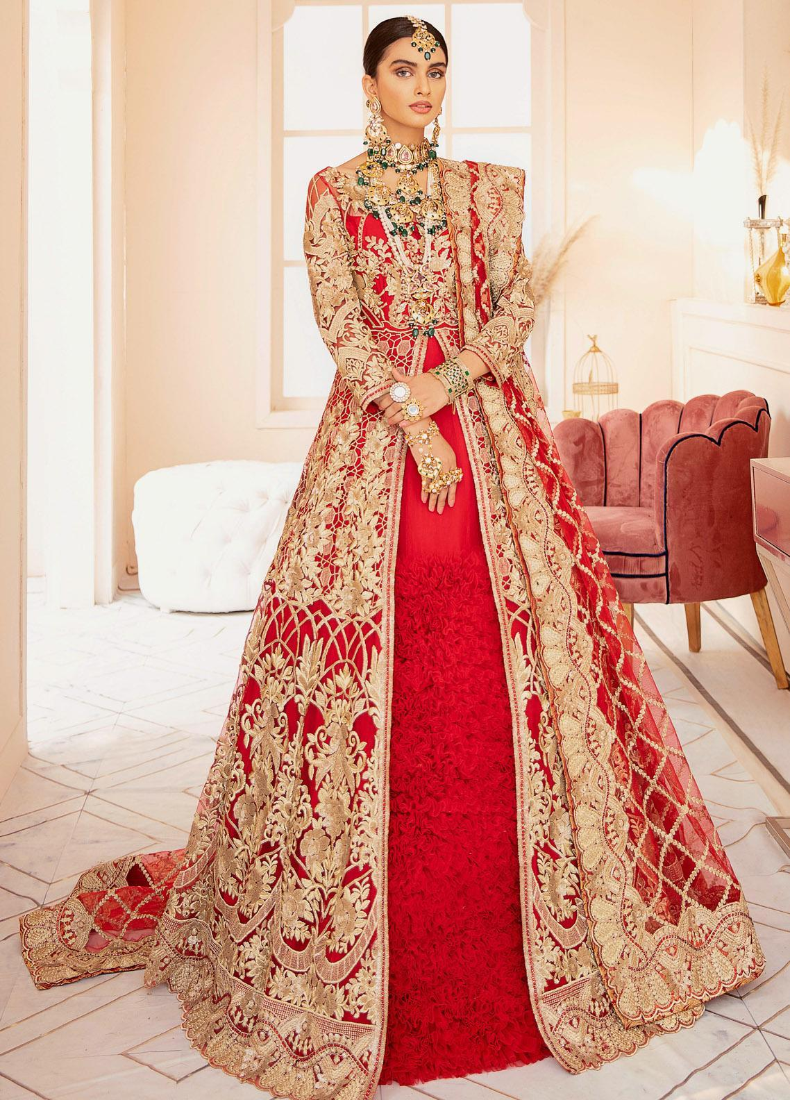 Imrozia Brides Embroidered Net Unstitched 3 Piece Suit IMP20B 03 Rose Glamour - Bridal Collection