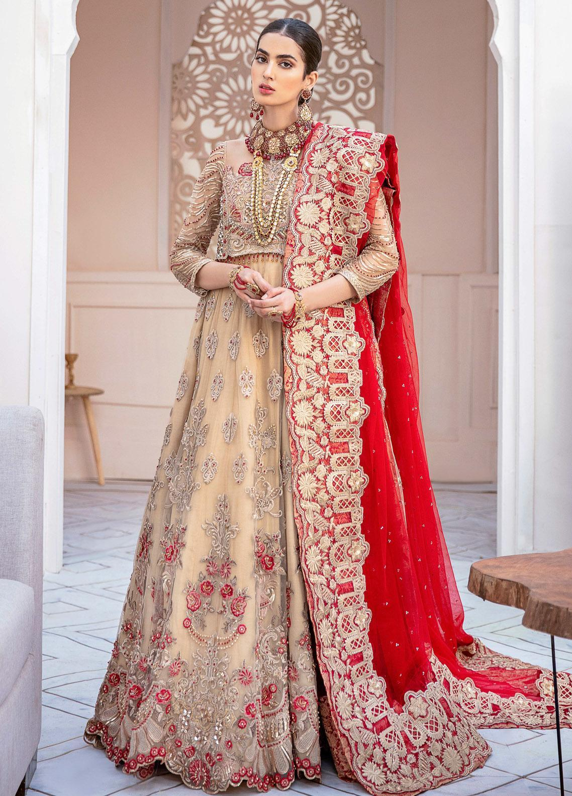 Imrozia Brides Embroidered Net Unstitched 3 Piece Suit IMP20B 05 Royal Beige - Bridal Collection