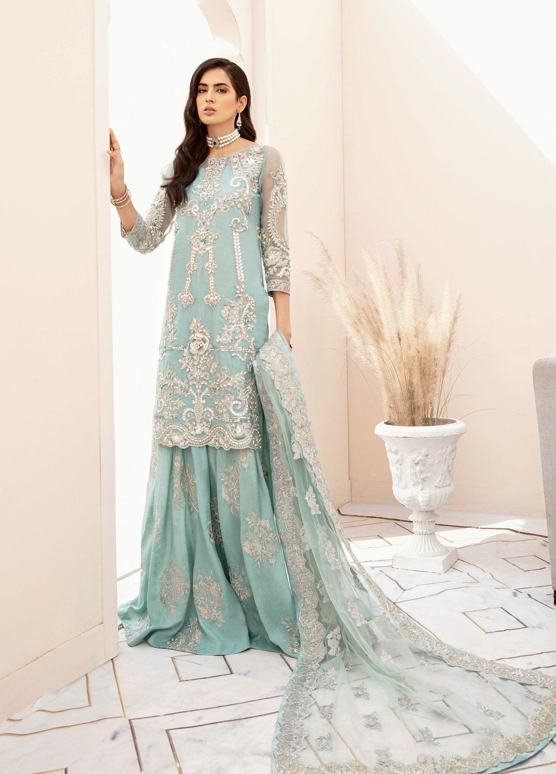 Imrozia Brides Embroidered Organza Unstitched 3 Piece Suit IMP20B 06 Aquatic Romance - Bridal Collection