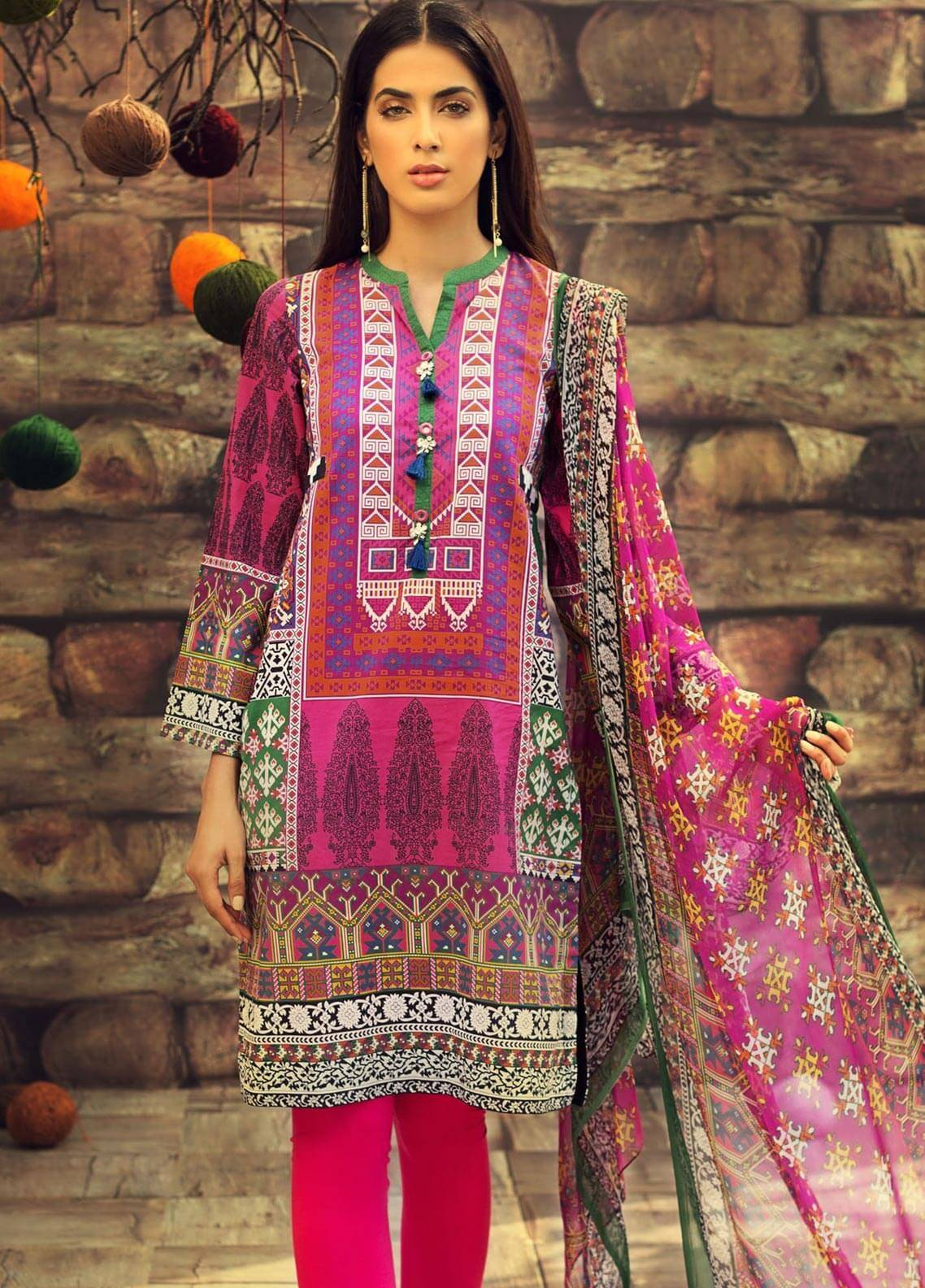 LimeLight Printed Cambric Unstitched 2 Piece Suit INDIAN TRIBES (PINK) - Cambric Collection