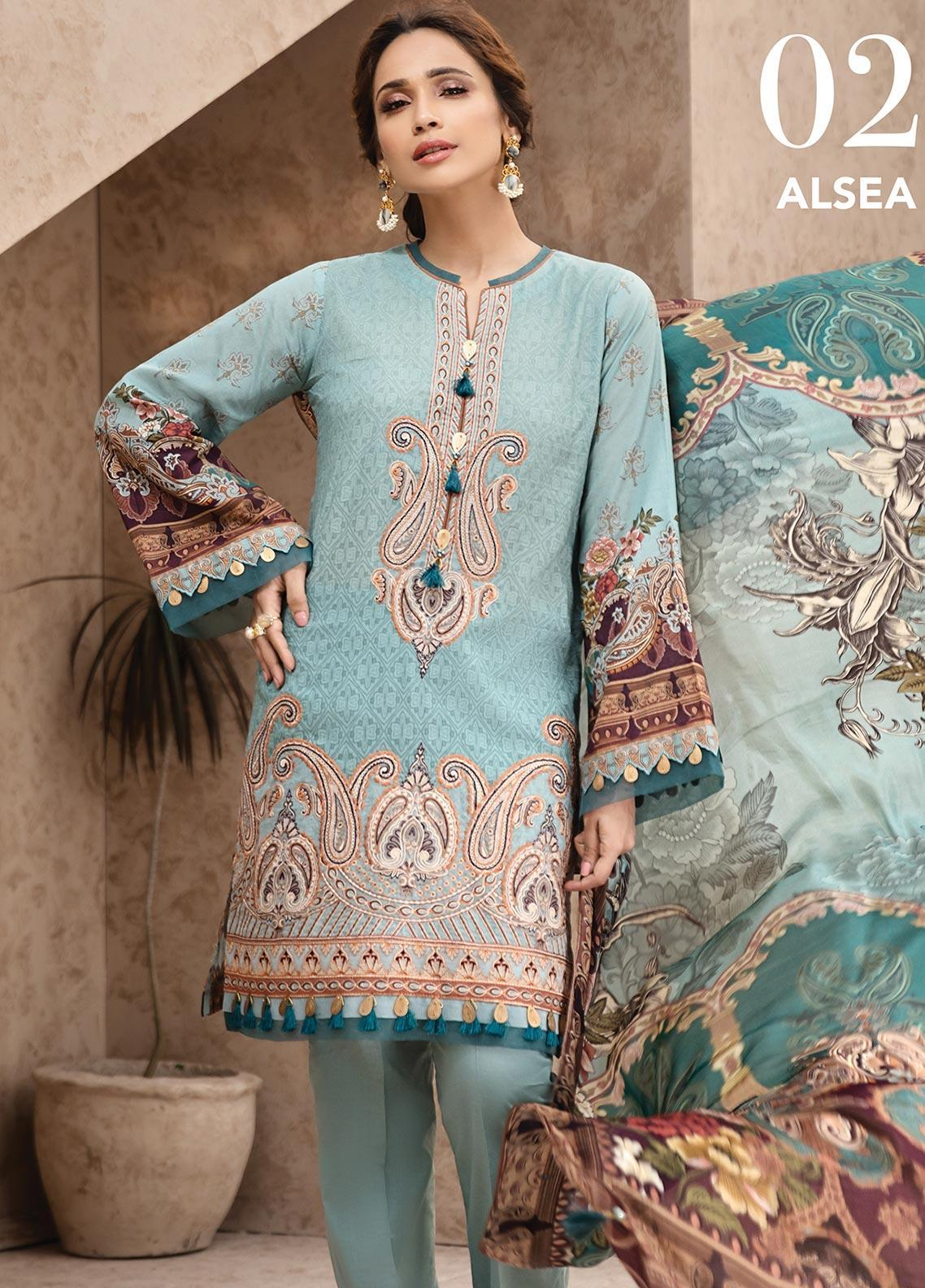 IRIS by Jazmin Embroidered Lawn Unstitched 3 Piece Suit JZ20I 2 - Summer Collection