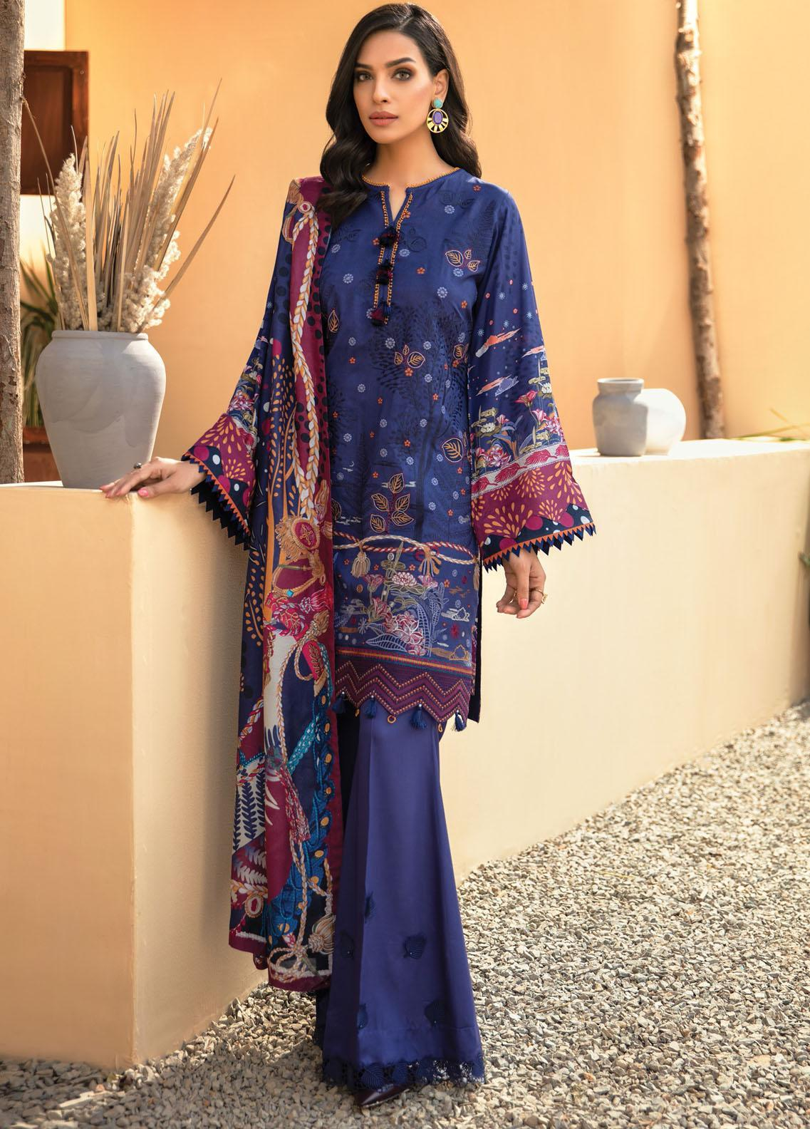 IRIS VIRSA by Jazmin Embroidered Linen Unstitched 3 Piece Suit JZ20IV 02 Shahkaar - Winter Collection