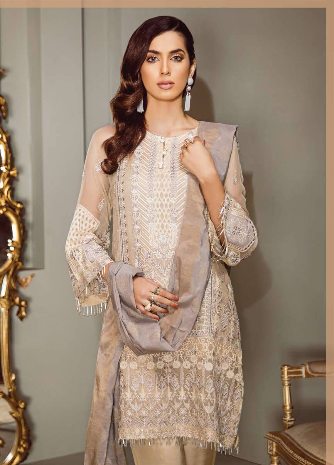 0981c87400 Isabella By Baroque Embroidered Chiffon Unstitched 3 Piece Suit IS18C 01 -  Luxury Collection