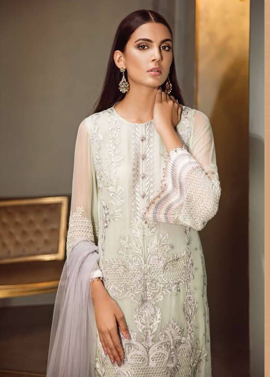 eb67d0965c Isabella By Baroque Embroidered Chiffon Unstitched 3 Piece Suit IS18C 09 -  Luxury Collection