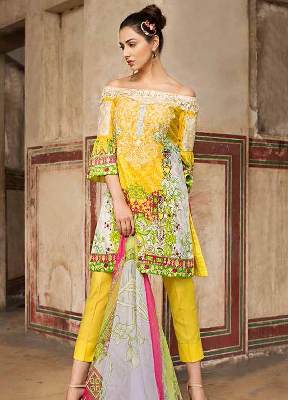 Ittehad Textiles Embroidered Lawn Unstitched 3 Piece Suit IT18L GOLD FUSION A - Spring / Summer Collection