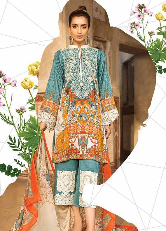 Ittehad Textiles Embroidered Lawn Unstitched 3 Piece Suit IT18L GOLD FUSION B - Spring / Summer Collection