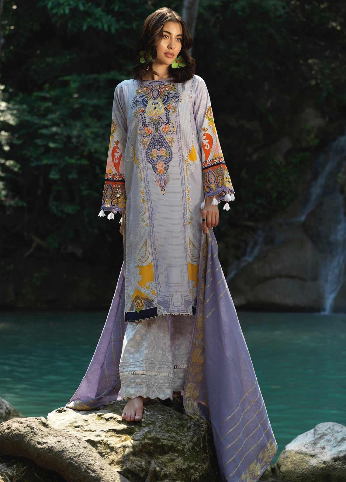 Ittehad Textiles Embroidered Lawn Unstitched 3 Piece Suit ITD20DG VOILET CLAIR - Summer Collection