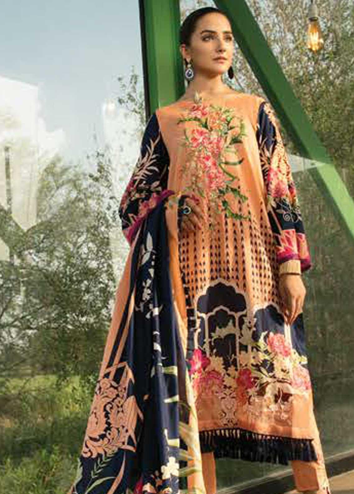 Ittehad Textiles Embroidered Lawn Unstitched 3 Piece Suit ITD19-L2 DUSTY ORANGE - Mid Summer Collection