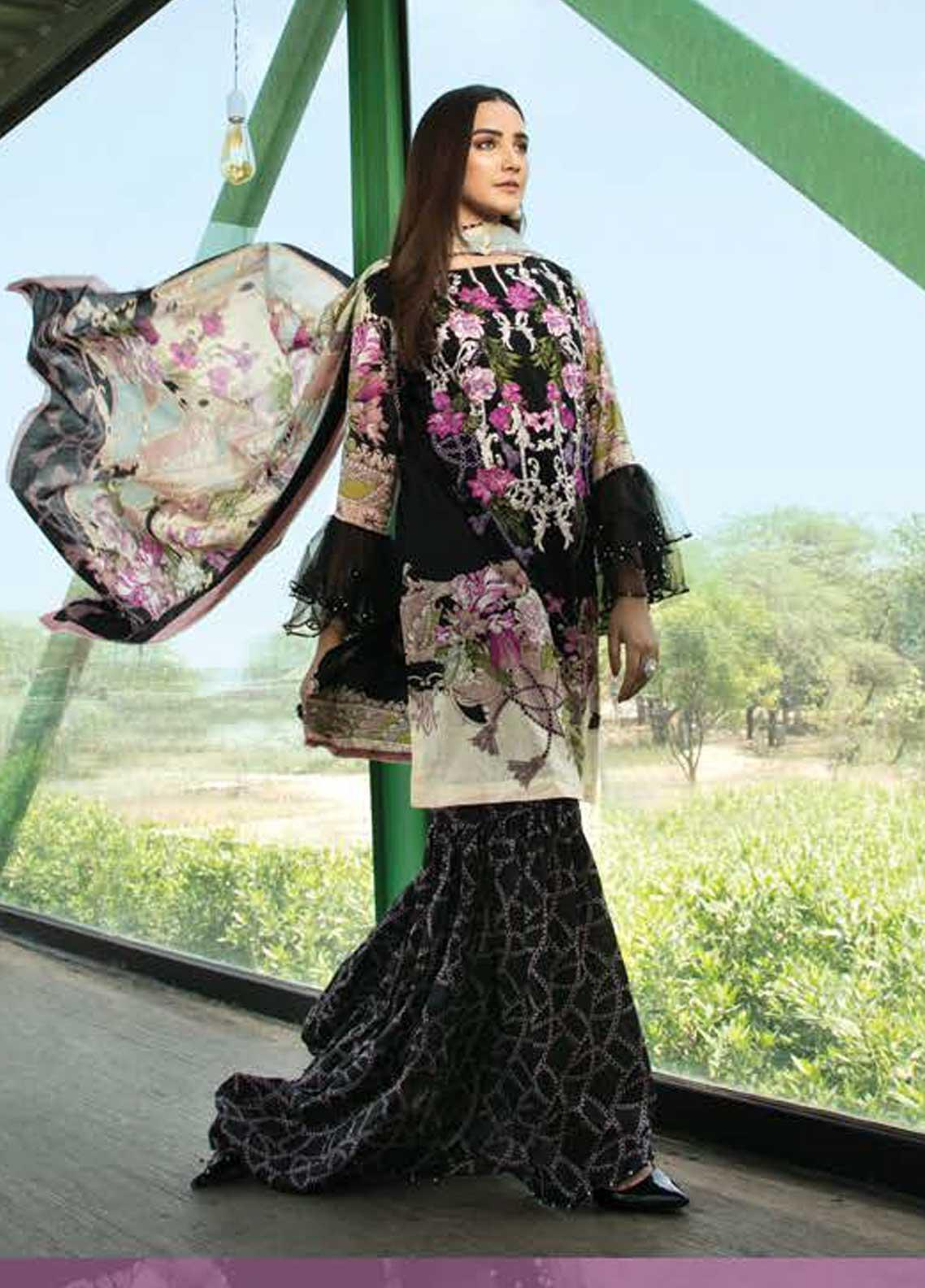 Ittehad Textiles Embroidered Lawn Unstitched 3 Piece Suit ITD19-L2 MOONLESS NIGHT - Mid Summer Collection