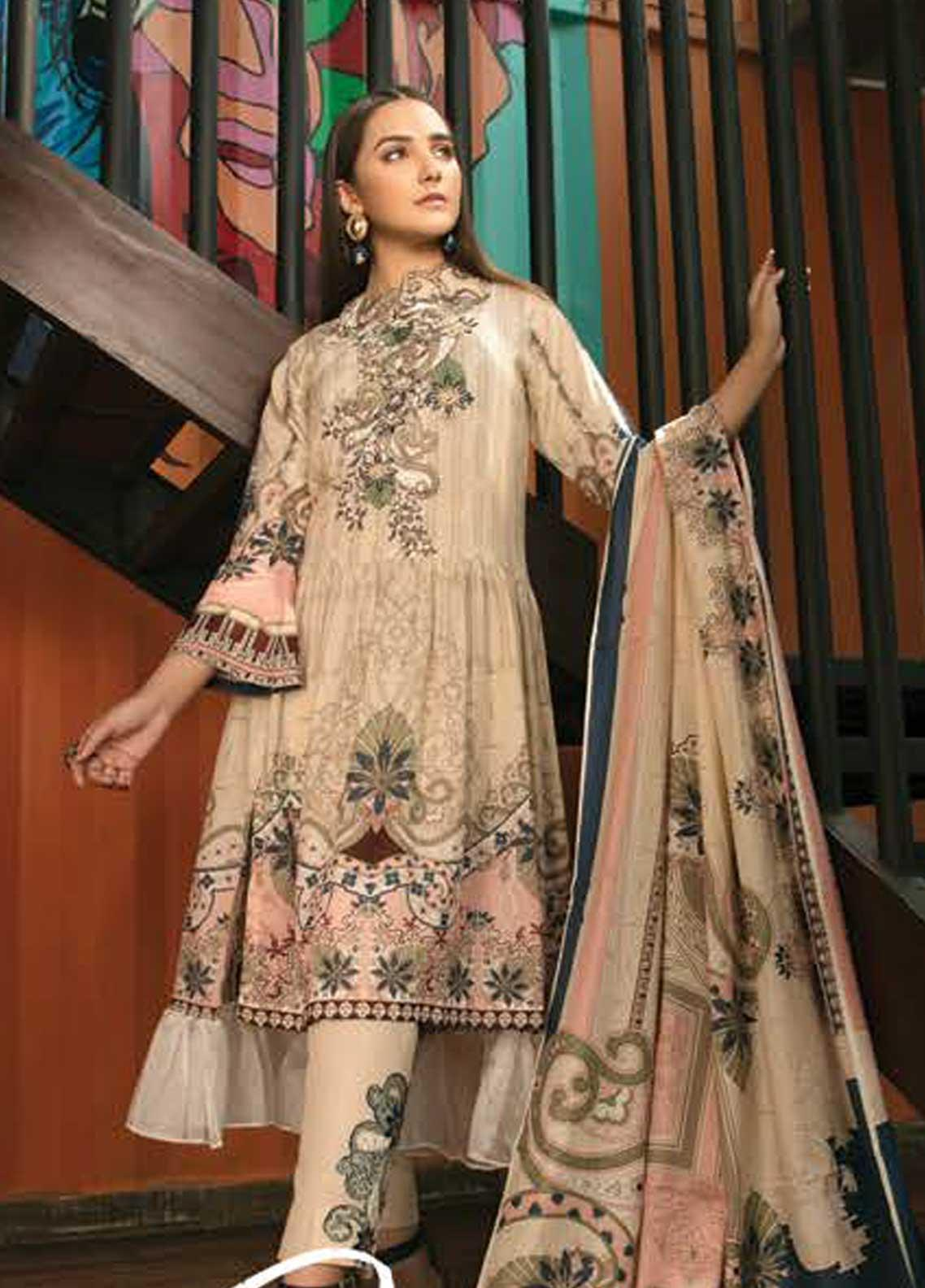 Ittehad Textiles Embroidered Lawn Unstitched 3 Piece Suit ITD19-L2 PEACHY BEIGE - Mid Summer Collection