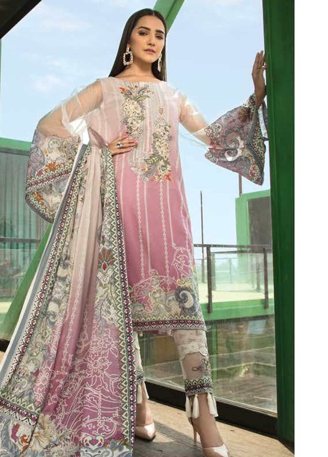 Ittehad Textiles Embroidered Lawn Unstitched 3 Piece Suit ITD19-L2 ROSE SHADOW - Mid Summer Collection